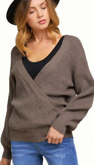 All Seasons Flattery Wrap Sweater- Brook Khaki