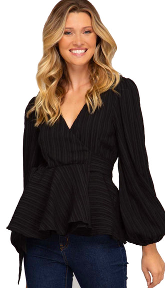 Day To Night Balloon Sleeve Wrap Top- Black