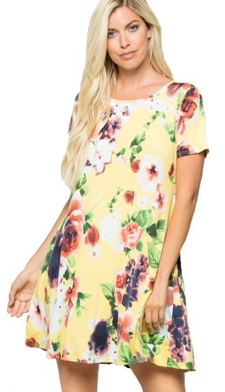 Sunny Fields Floral Dress- Light Yellow