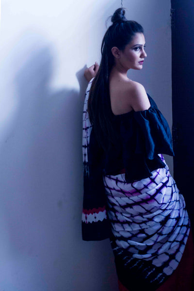 model wearing shibori saree from Resha