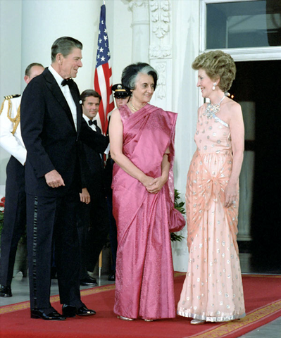 Prime Minister Indira Gandhi with President Ronald Reagan, First lady Nancy Reagan on the North Portico of the white House