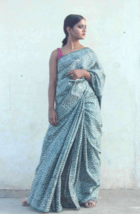 Radha | Tussar silk saree designed with handblock printing