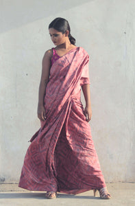 Gulmohar | Handprinted and hand dyed pure silk saree designed with care