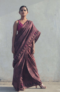 Roohi | Pure silk saree hand printed and hand dyed with natural dyes