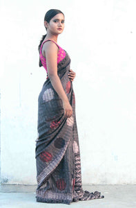 Samarth | Dark coffee pure silk saree handprinted and hand dyed