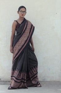Rosamonde | Mulberry silk saree with Ajrakh print