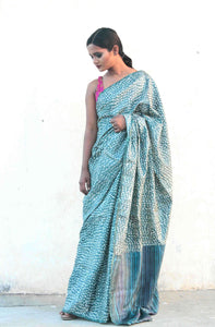 Ganga | Tussar silk saree designed with block prints and natural dyes