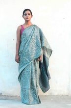 Load image into Gallery viewer, Ganga | Tussar silk saree designed with block prints and natural dyes