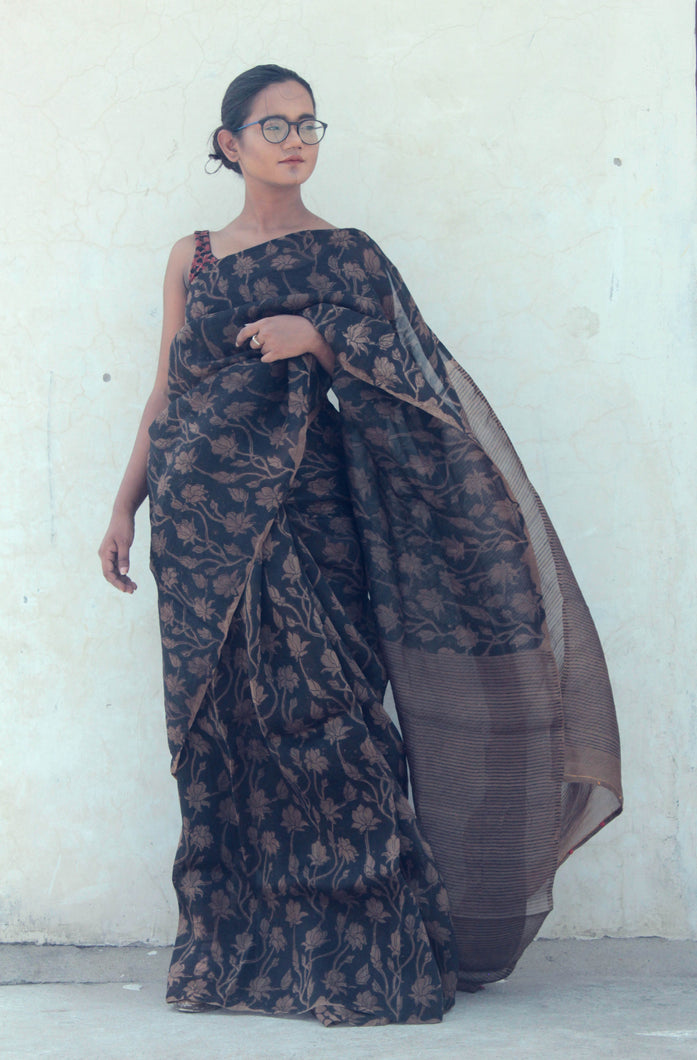 Roselyn | Organza silk saree with floral print