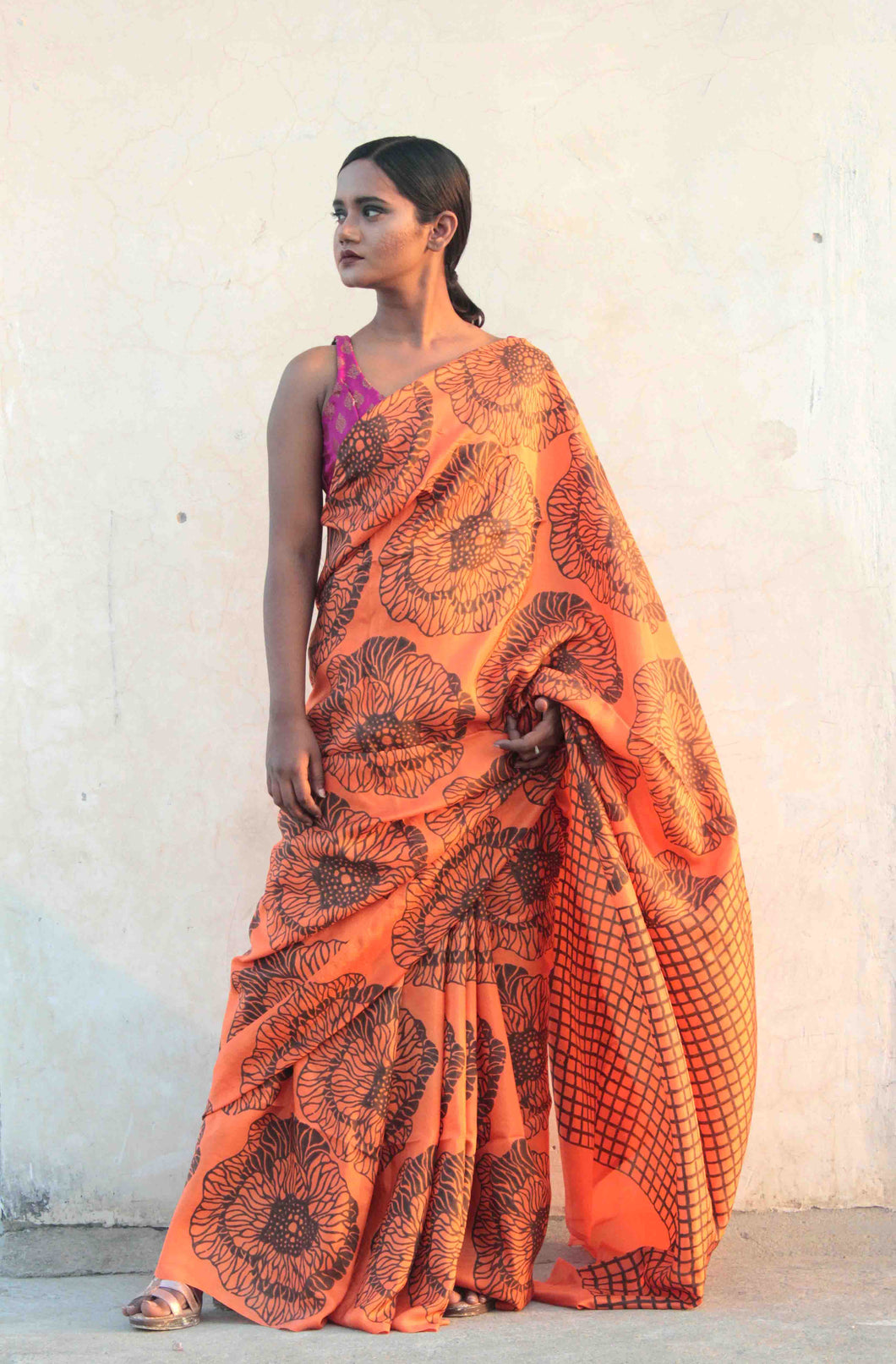 Siya | pure silk saree designed with big floral block prints