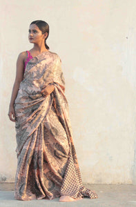 Saree model standing in sari sari designed in India | designer saree with blouse
