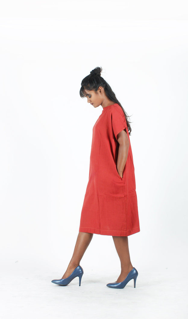 Brick Red Straight Dress-Resha.in
