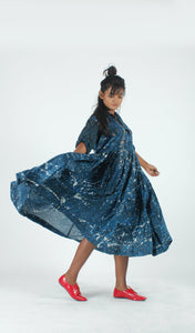 Blue Splatter Swing Dress-Resha.in