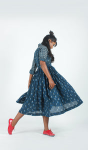Indigo Rain Swing Dress-Resha.in