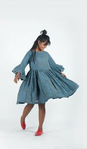 Indigo Tiny Flowers Swing Dress-Resha.in