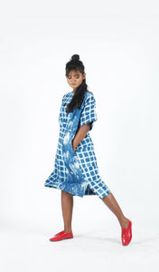 Blue Checks Boxy Dress-Resha.in