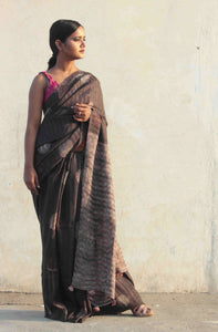 Mahi | dark chocolate circle printed pure silk saree
