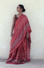 Load image into Gallery viewer, Vignetta | Pink mulberry silk saree with Ajrakh print
