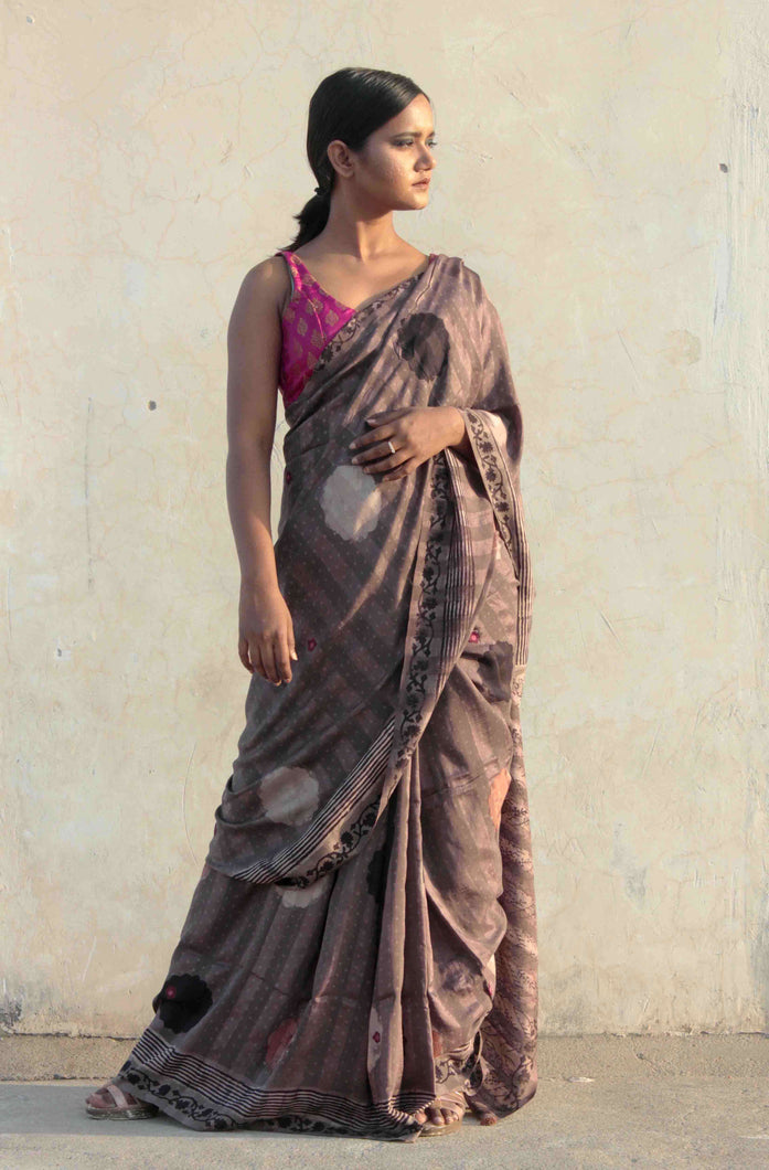 Gulnar | Mulberry silk saree printed with big polka dots