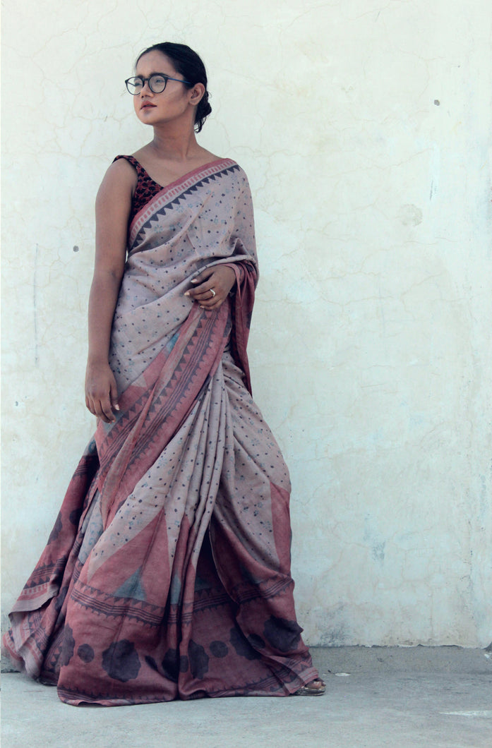 Violetta | Pure silk saree with dabu print