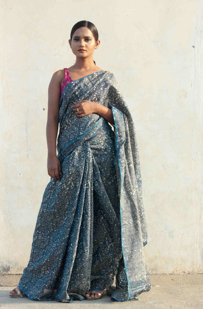 Radhika | tissue silk saree hand block printed and dyed with natural indigo