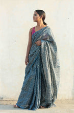 Load image into Gallery viewer, Radhika | tissue silk saree hand block printed and dyed with natural indigo