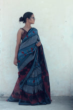 Load image into Gallery viewer, Nadine | Linen saree with dabu print using natural indigo
