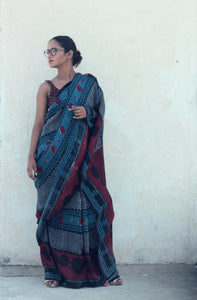 Nadine | Linen saree with dabu print using natural indigo