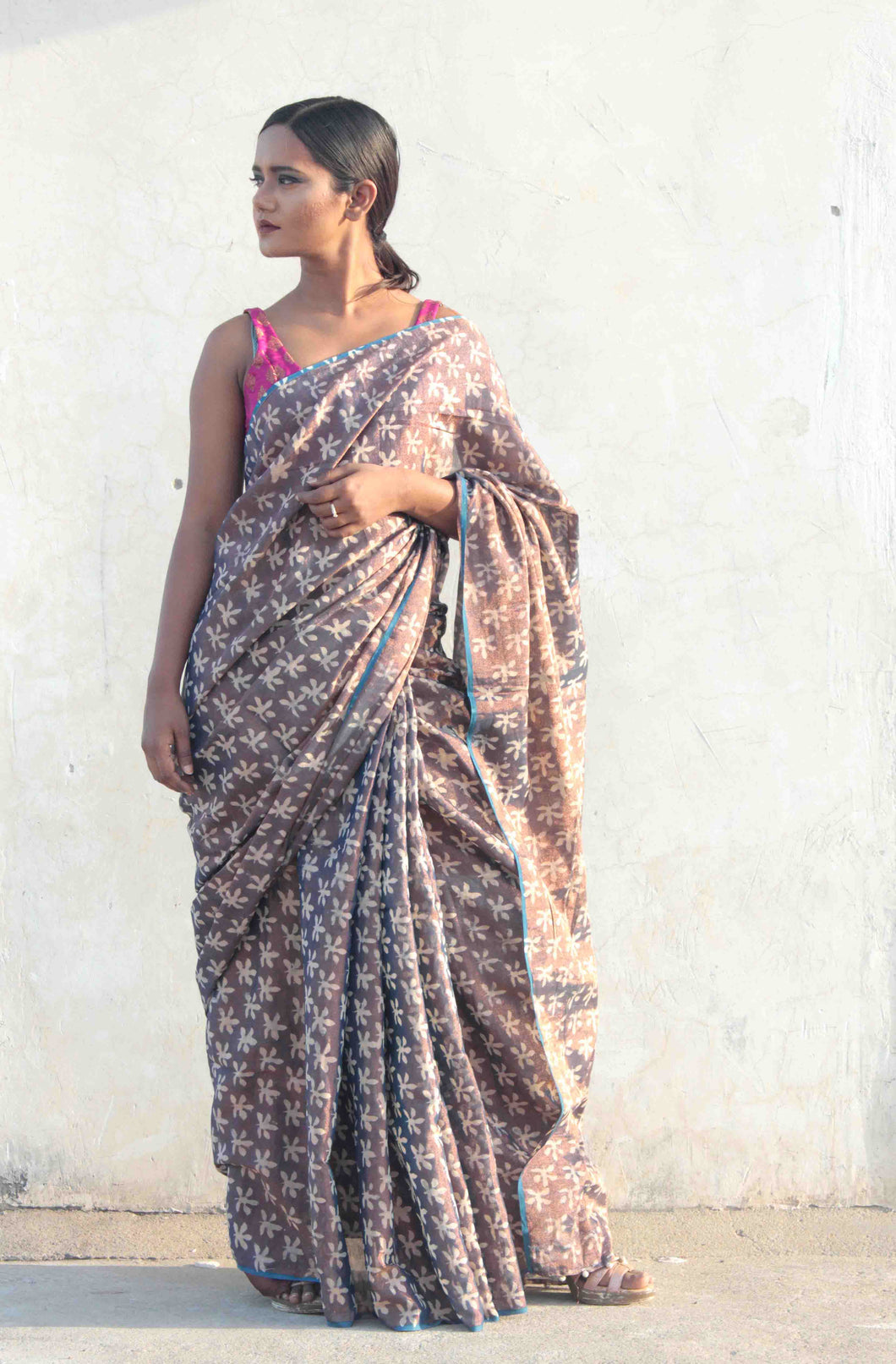 Sulbha | handwoven tissue saree with copper zari and hand block printed floral design