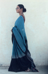 Vivienne | Linen saree with natural indigo