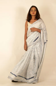 Maya | Handblock printed pure silk saree using natural indigo dye