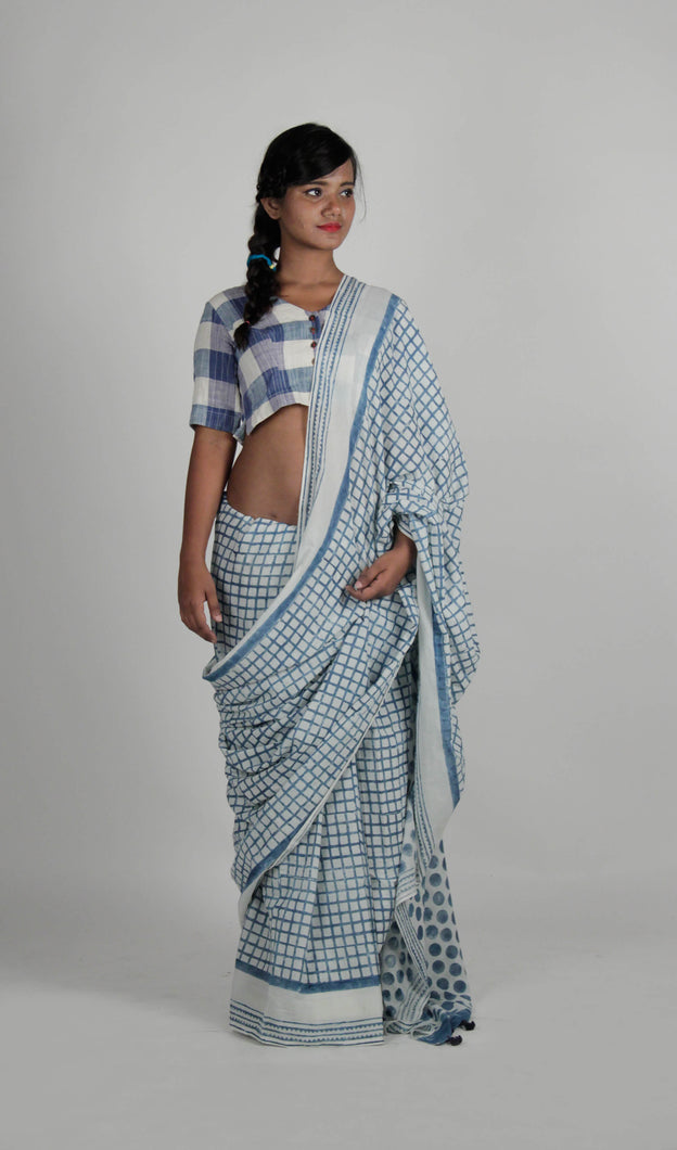 Noori | Pure cotton saree handblock printed with natural Indigo