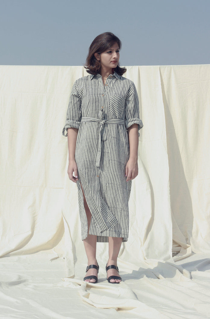 Romane's Dress | Block printed stripes on cotton dress-Resha.in