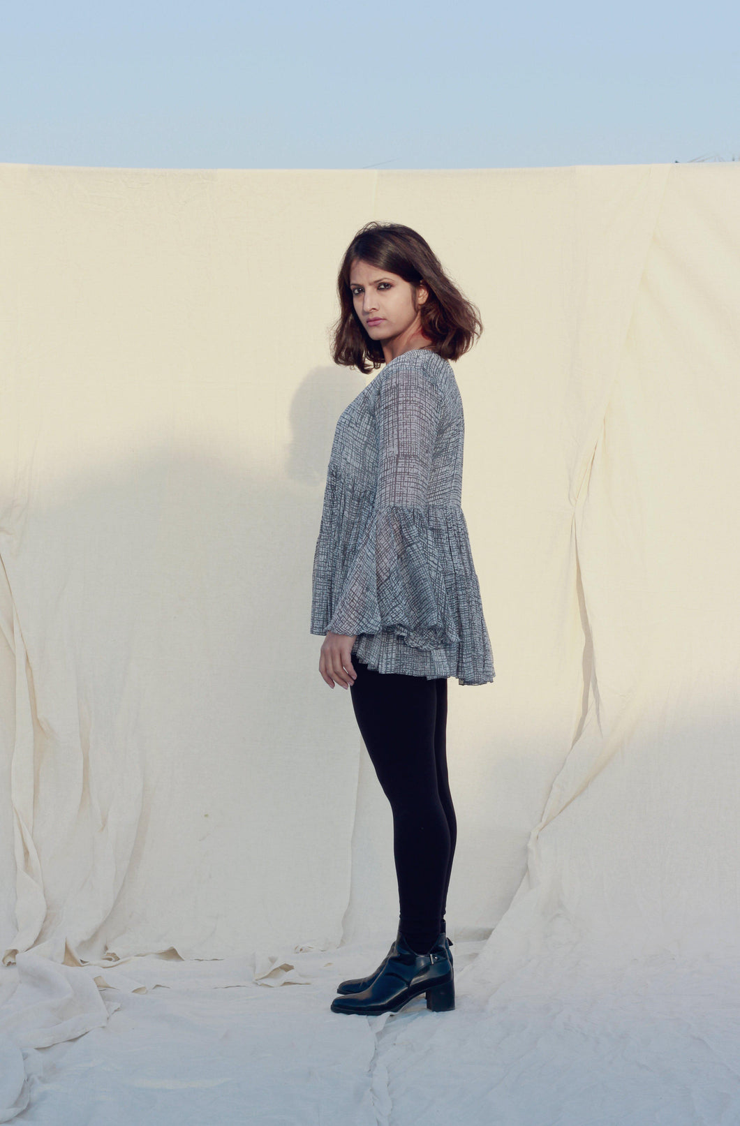 Eleonore's Top | Buttery Chiffon with block printed delicate checks-Resha.in