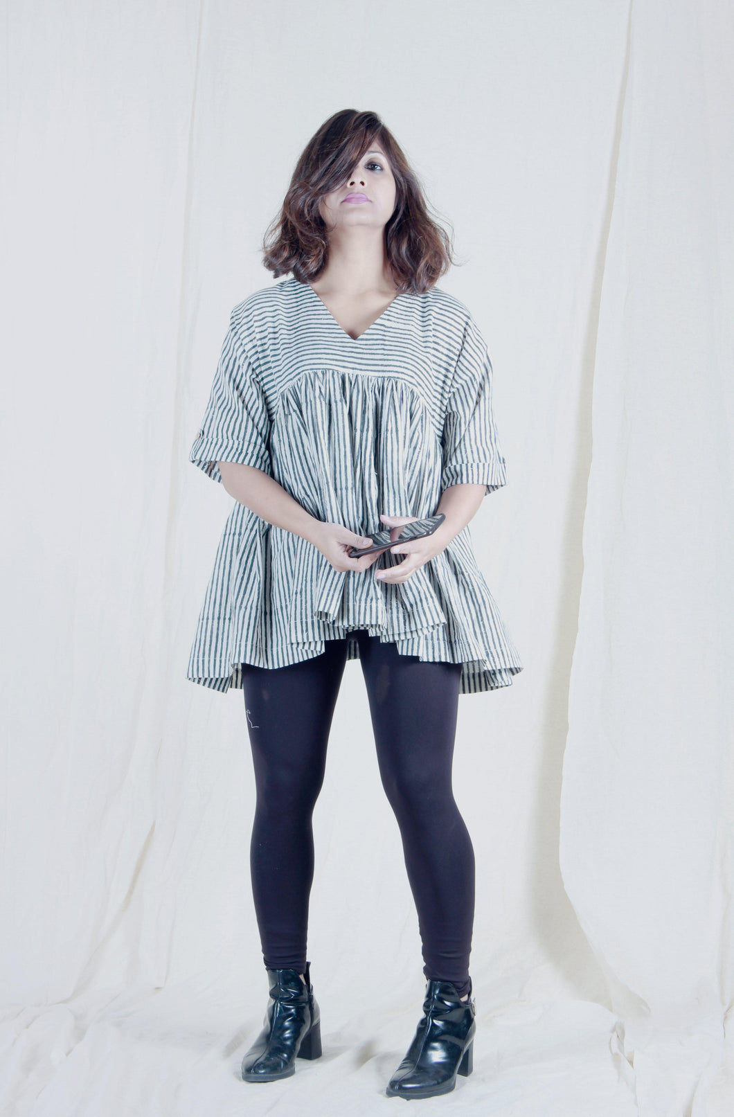 Roxane's Top | Block printed striped cotton top-Resha.in