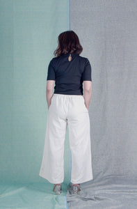 Ambre's Trousers | Ivory hand-spun khadi cotton trousers-Resha.in
