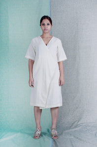 Ivory love | Hand-spun organic khadi cotton dress-Resha.in