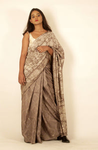 Giselle | Dabu printed mulberry silk saree