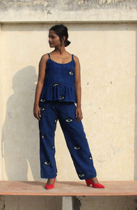 Zella Co-ord set | Natural indigo with block printed eyes