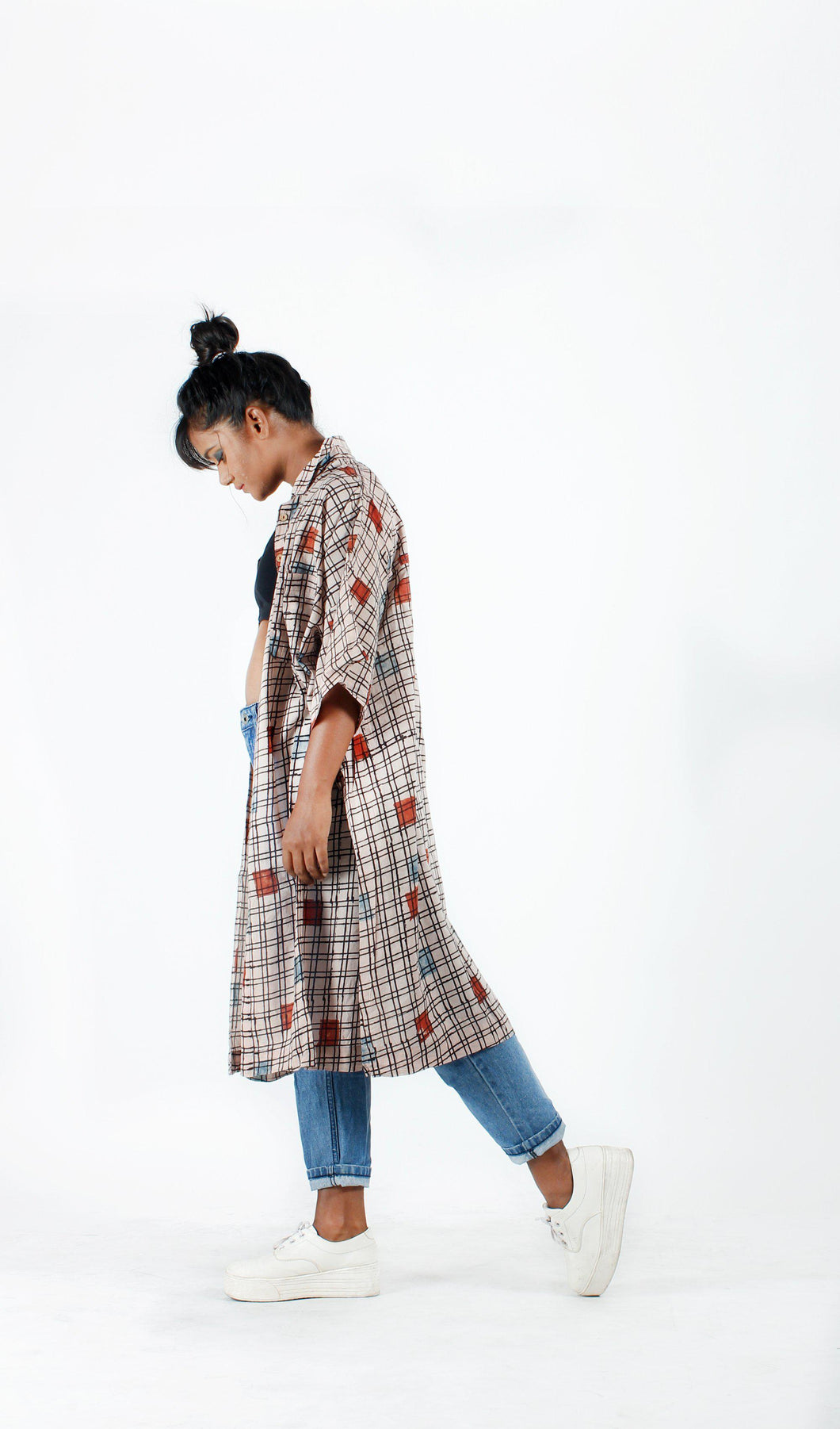 Beige Block Printed Checks Long Shirt-Resha.in