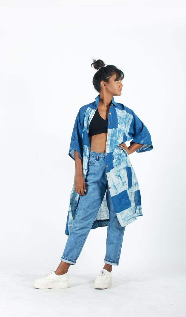 Indigo Strokes Long Shirt-Resha.in