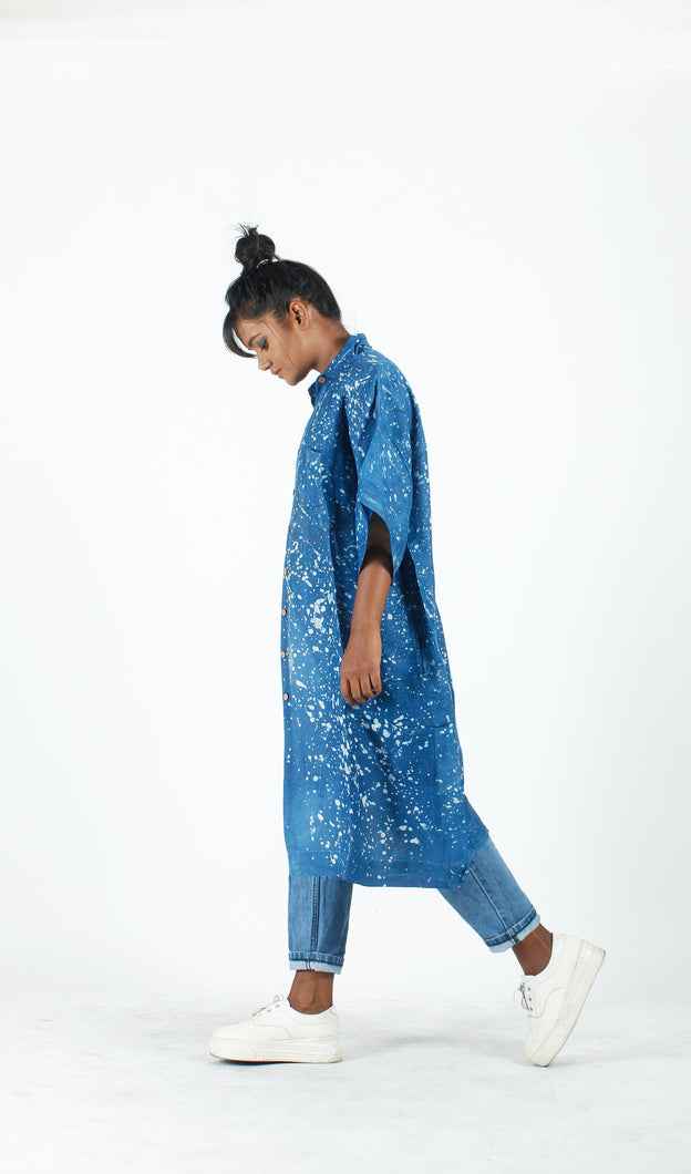 Indigo Splatter Long Shirt-Resha.in
