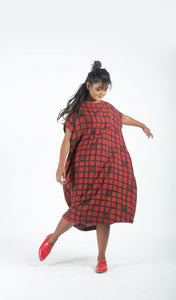Red Check Printed Dress-Resha.in
