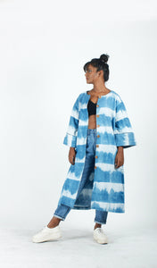 White Indigo Striped Dress-Resha.in