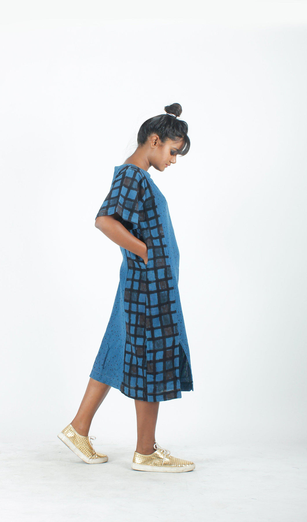 Indigo Panelled Straight Dress-Resha.in