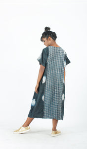 Indigo Paneled Checkered Dress-Resha.in