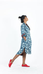 Indigo Floral Shirt Dress-Resha.in