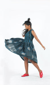 Indigo Circle Swing Dress-Resha.in