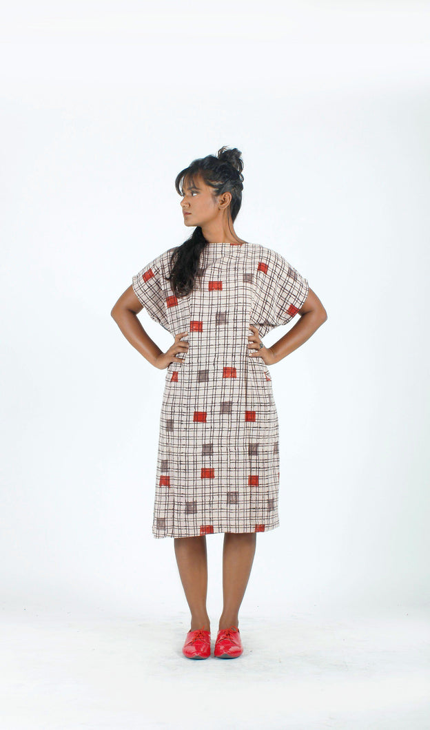 Beige Khadi Shift Dress-Resha.in