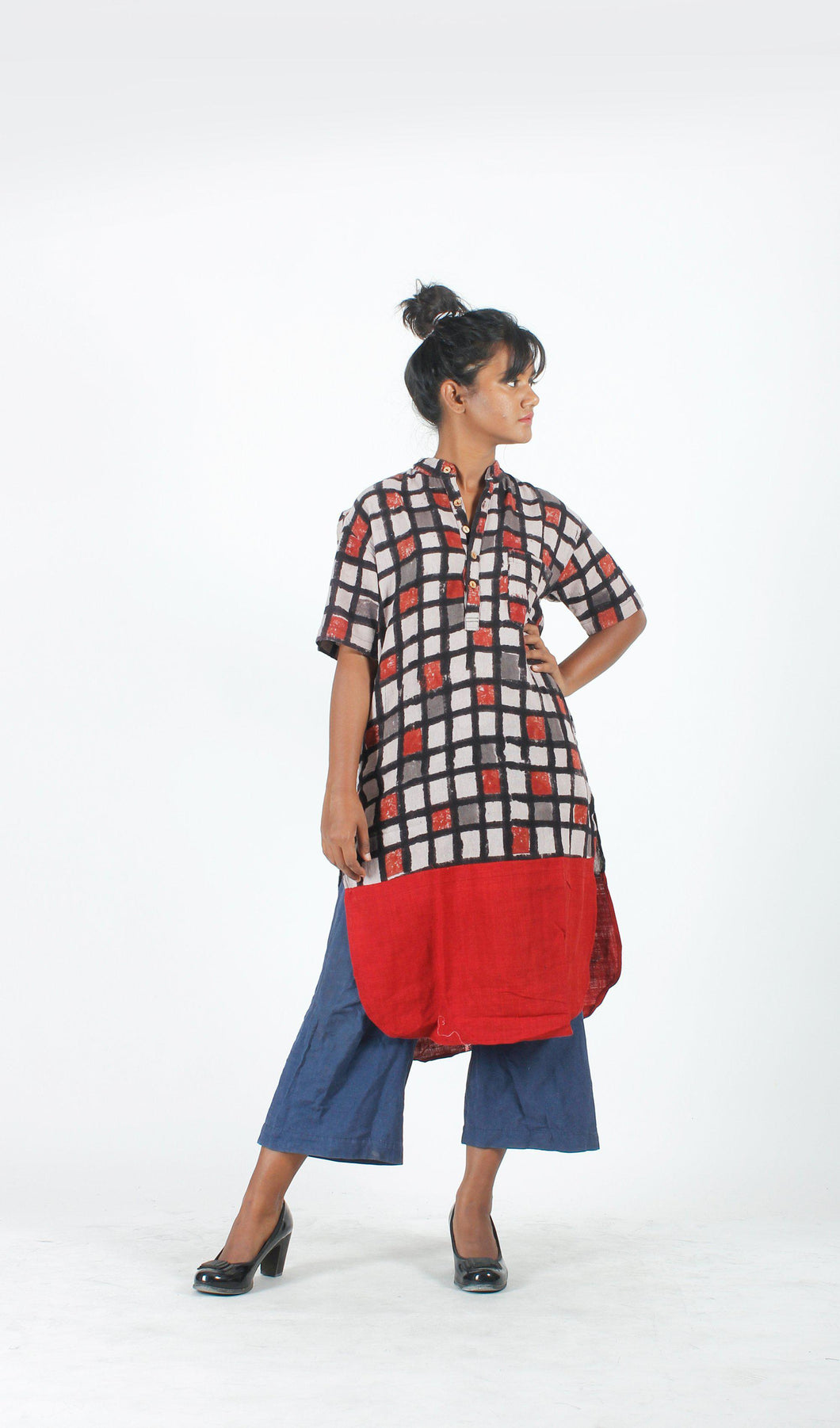 Beige & Red Khadi Kurta-Resha.in